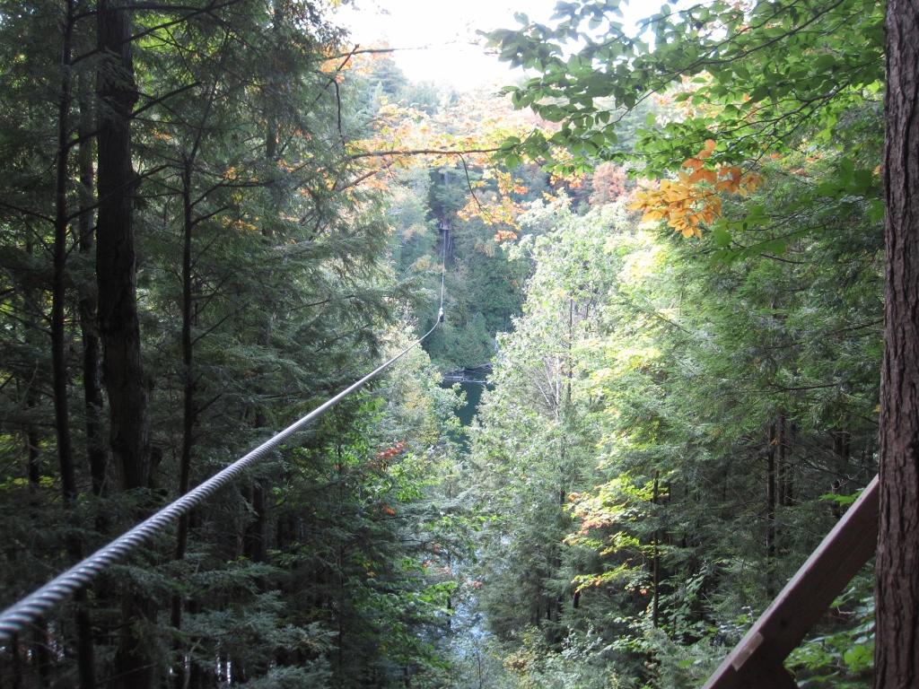 Ziplining in Arbraska Lafleche Park, Quebec