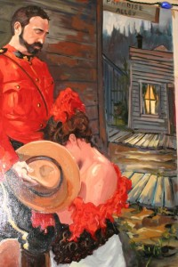 Painting of Mountie and lady of the night in The Pit (Dawson City, Yukon)