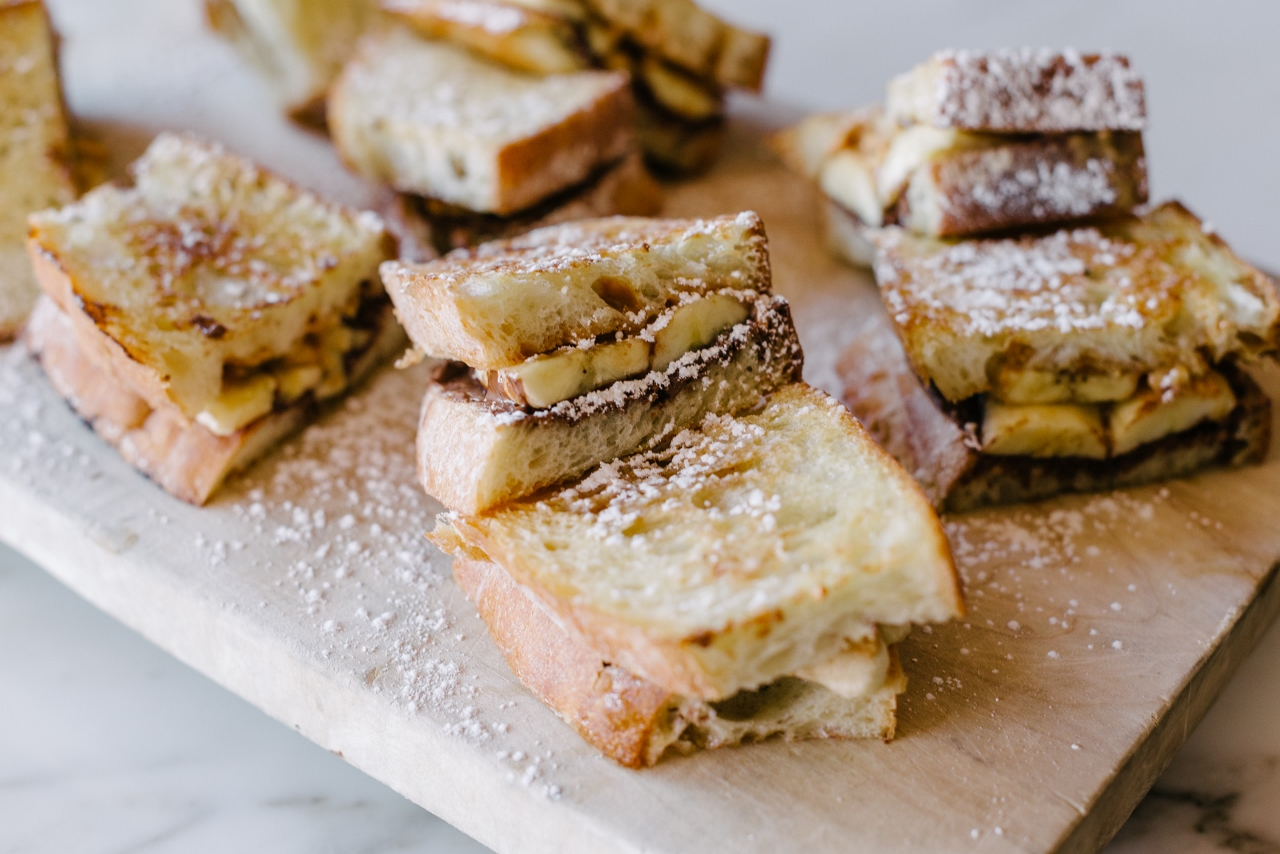Matteo panini with Nutella, crunchy peanut butter, & banana