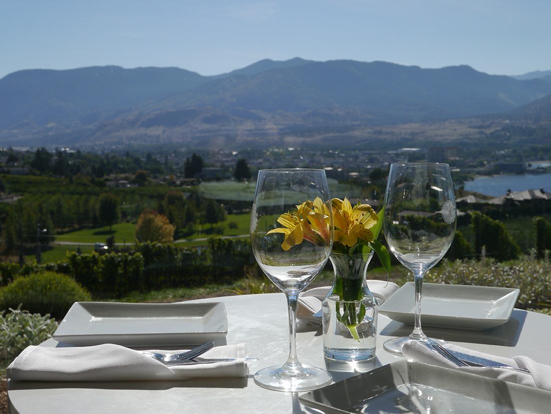 Table setting at Poplar Grove, British Columbia