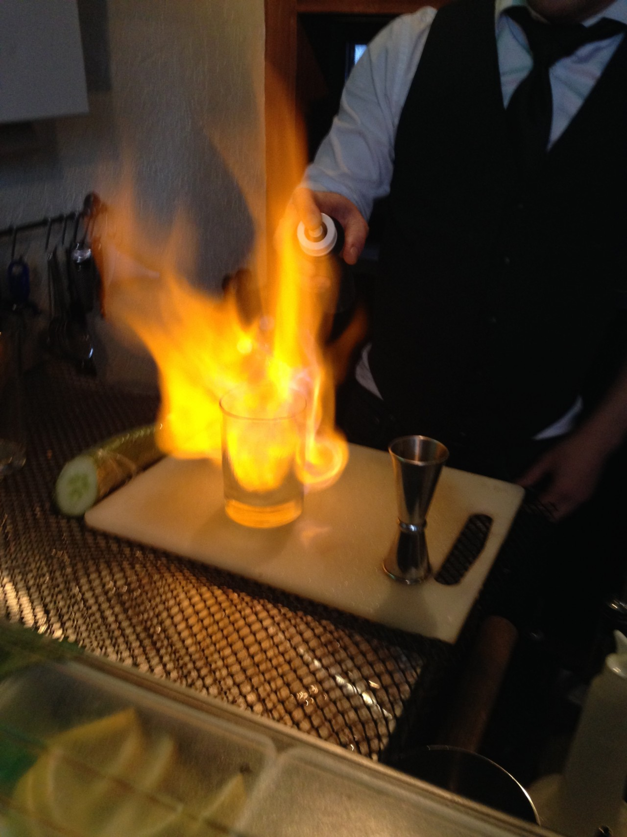 Absinthe Fire cocktail in Banff Alberta