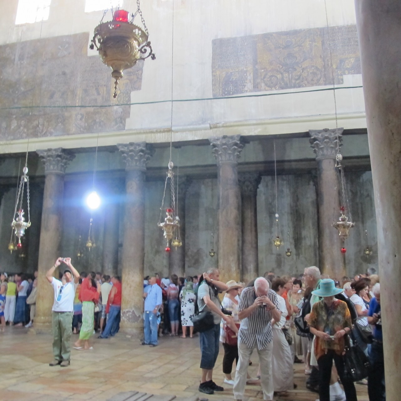 Line up to Grotto in Church of Nativity