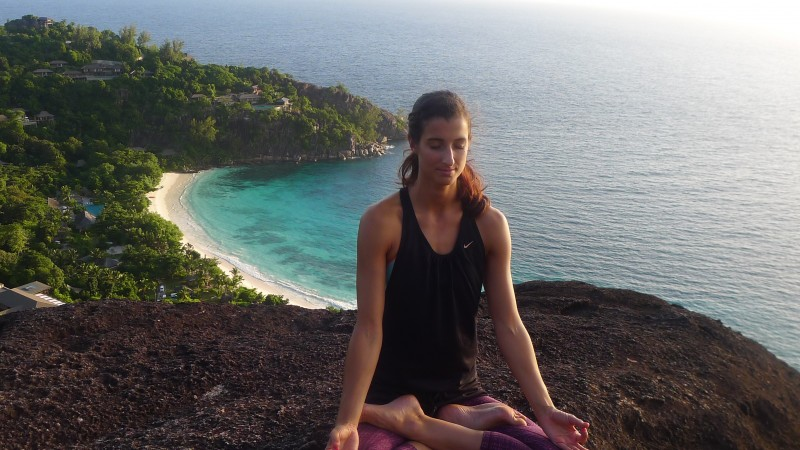 Seychelles yoga island off the coast of Africa