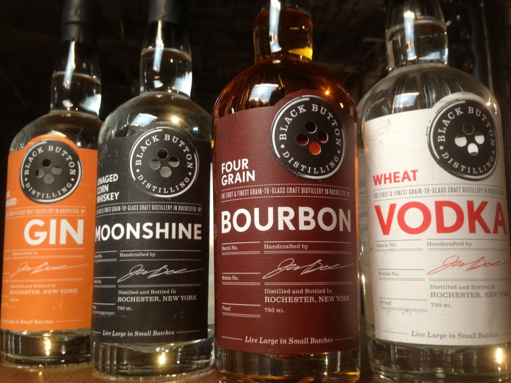Gin, moonshine, bourbon and vodka from Black Button Distilling