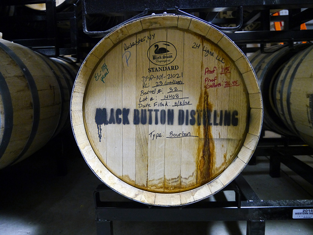 Black Button's charred American white oak barrel-aged bourbon. Credit: Nicola Brown