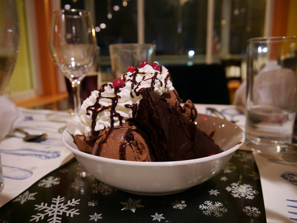 Julie's spicy chocolate brownie comes in gargantuan portions. Credit: Nicola Brown