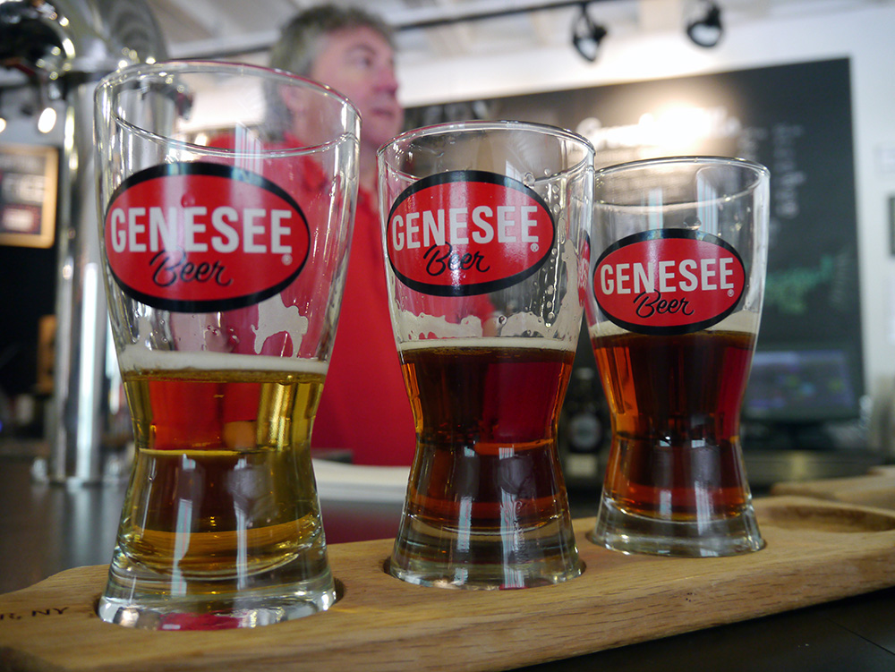 US$2 will get you a flight of beer at the Pilot Brewery at Genesee Brew House. Credit: Nicola Brown