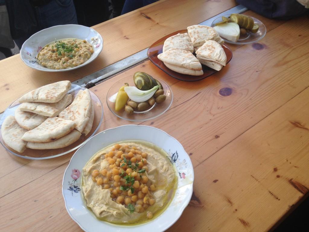 Hummus, Pita Bread, Pickles, Tel Aviv