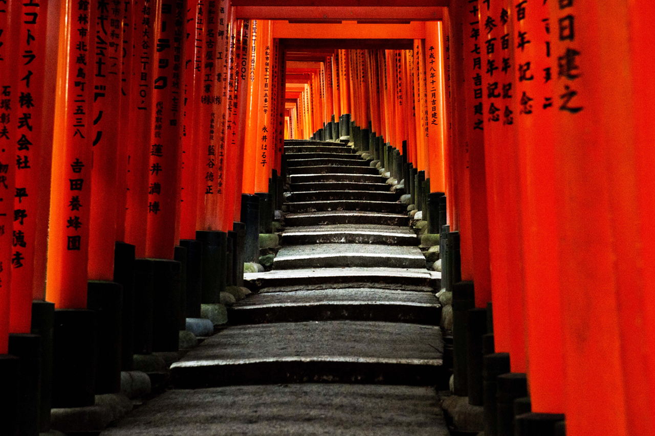 Sunrise at Fushimi Inari Shrine in Kyoto, Japan