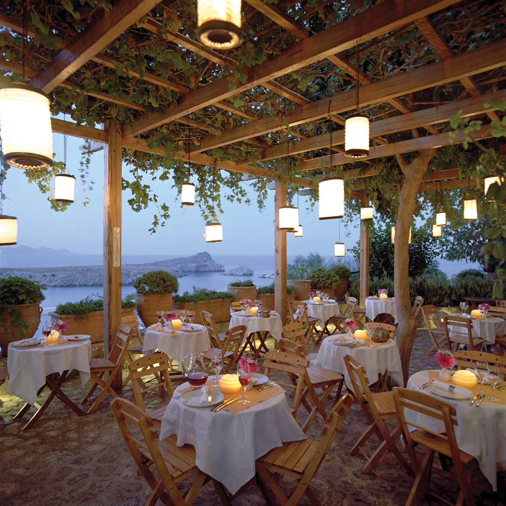 Dining in the Evening at Melenos, Lindos