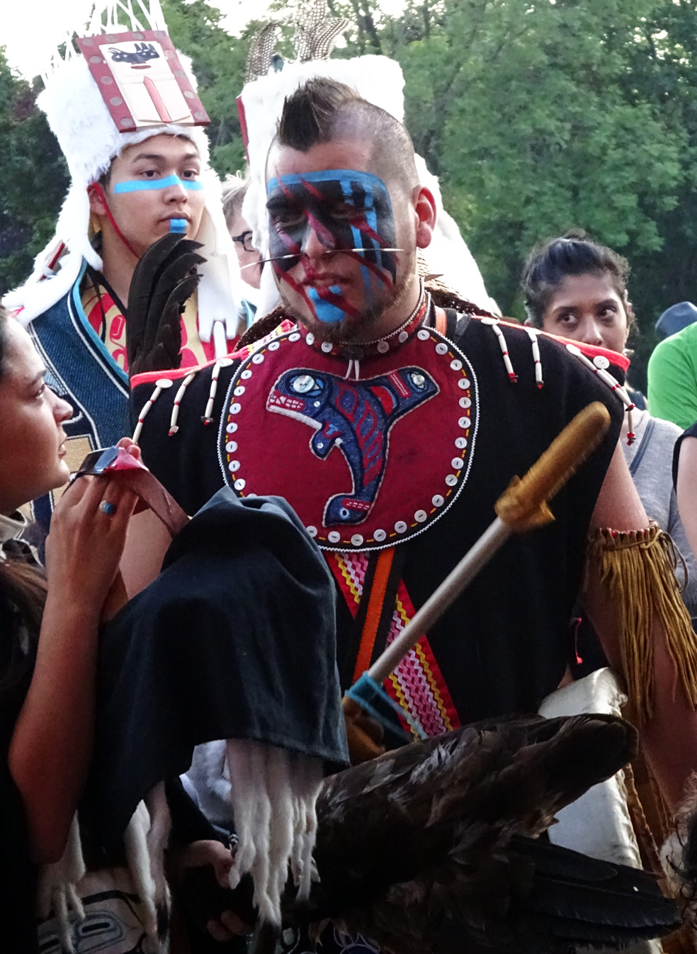 Lead drummer Gary Johnson prepares backstage to lead the Dakhká Khwáan Dancers
