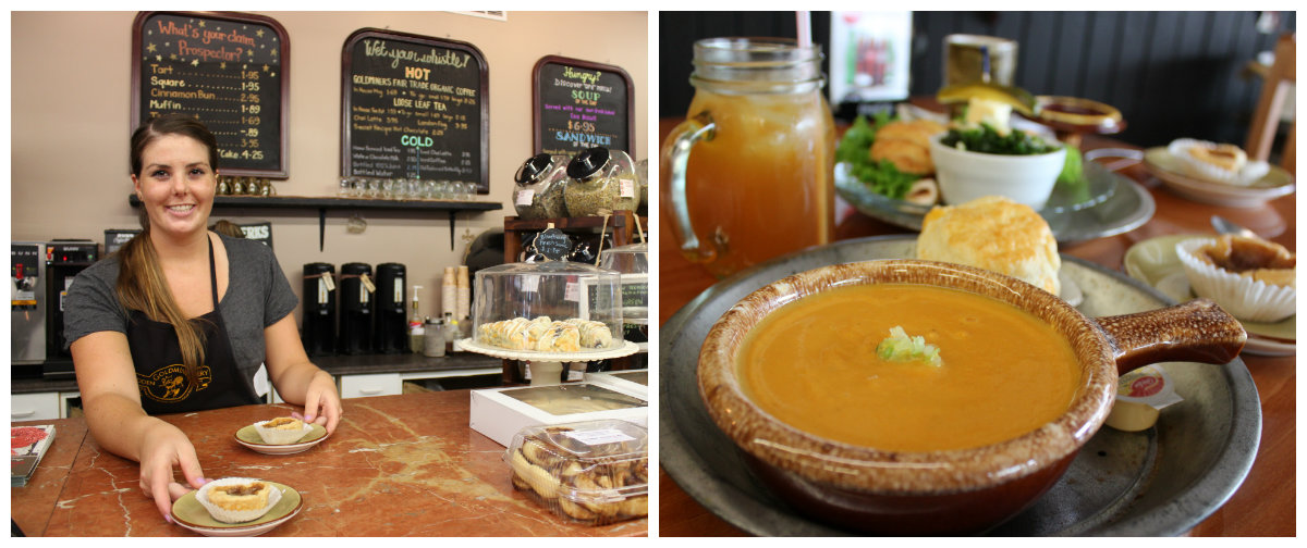 Pictured: Their carrot soup is to die for! On the side the best homemade iced tea, a warm cheese biscuit and a gooey butter tart.