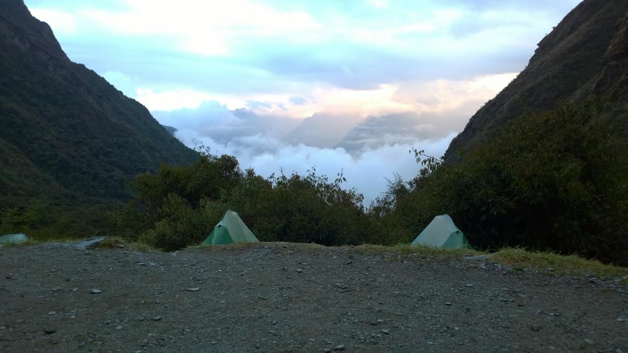 The camp at dawn.