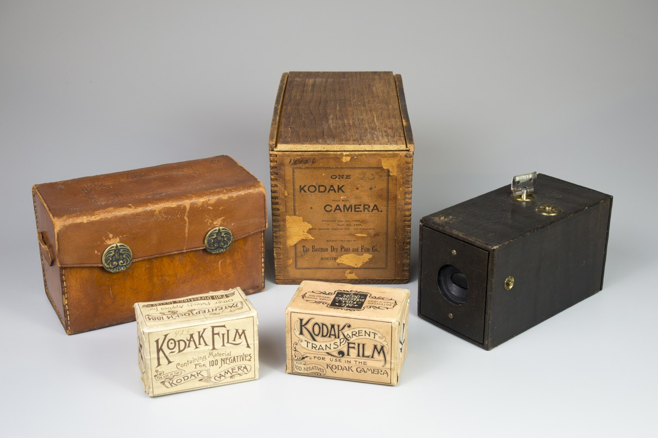 Kodak camera, film boxes and accessories. Image credit Eastman Museum.